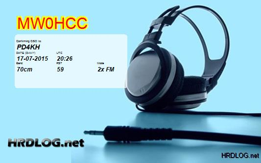 HRDLOG qsl card from MW0HCC