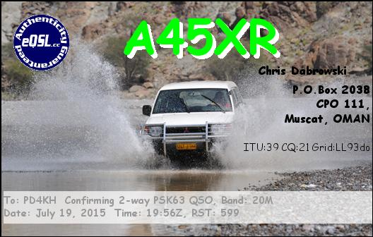 eQsl from A45XR Oman